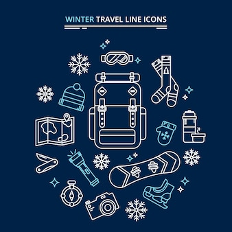 Winter travel icons kit