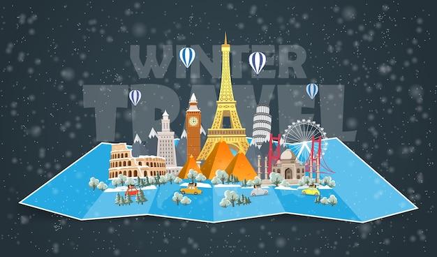 Зимнее путешествие по миру. рождественские каникулы. дорожное путешествие. большой набор известных достопримечательностей мира. время путешествовать, туризм, летний отдых. различные виды путешествий. плоский дизайн