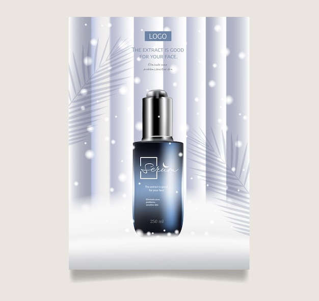 Winter treatment and skin care cosmetic sale banner poster design templaterealistic 3d illustratio