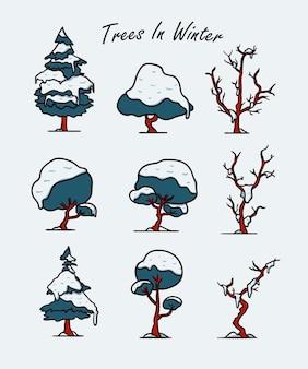 雪のイラストセットで覆われた冬の木
