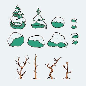 눈 일러스트 세트로 덮인 겨울 나무