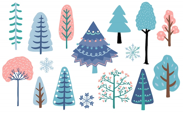 Winter tree forest set