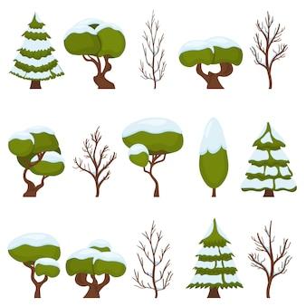Зимнее дерево в снегу и чисто. зеленые деревья
