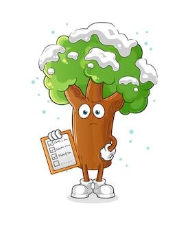 겨울 나무 일정 목록. 만화 캐릭터