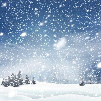 Зимние деревья фон со снегопадом