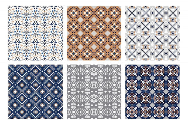 Winter tribal patterns. snowy fashion, pretty indian white and blue seamless pattern set, vector illustration