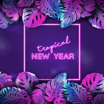 Winter tropic neon banner, christmas beach monstera palm leaves design, xmas tropical background, paradise party poster vector illustration, vibrant purple template with text place