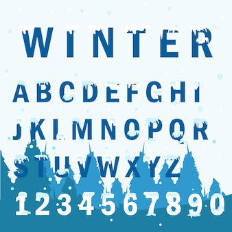 Winter type font with flat design