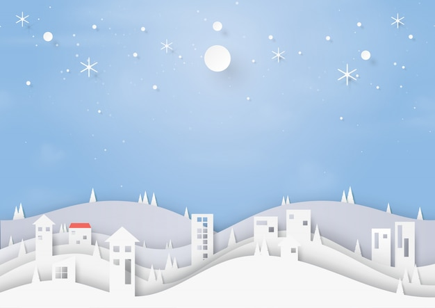 Winter and urban landscape background paper cut style