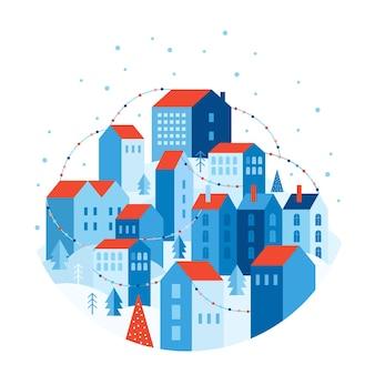 Зимний городской пейзаж в геометрическом стиле. праздничный снежный город украшают красочные гирлянды. дома на холме среди деревьев и сугробов