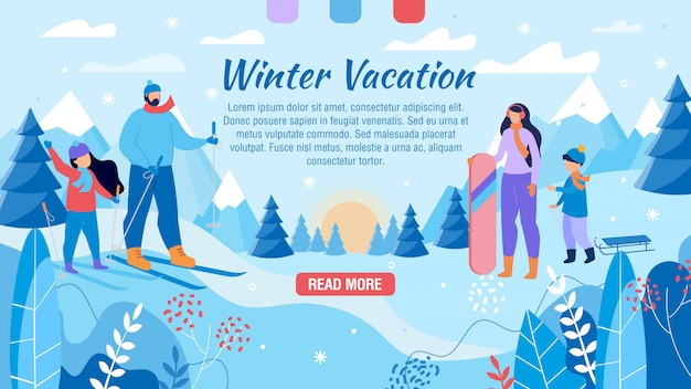 Winter vacation for family advertising webpage