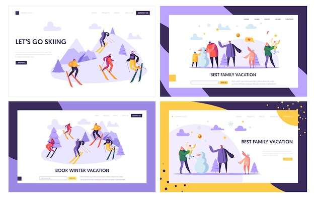 Winter vacation landing page template. active people characters on ski resort, family holidays, winter sports for web page or website.
