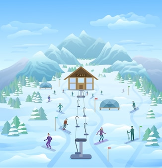 Winter vacation outdoor template