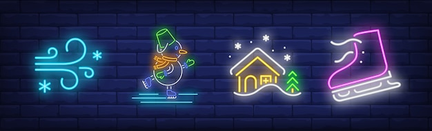 Winter vacation symbols set in neon style with ice skates