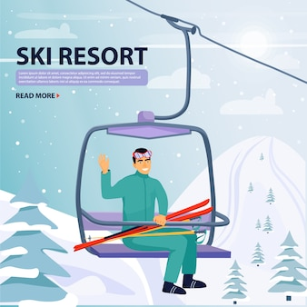 Winter vacations activity. happy man rise to the ski lift elevator.