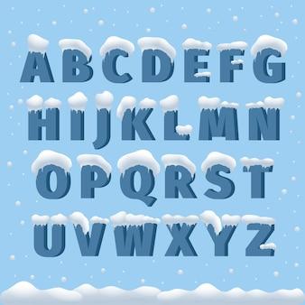 Alfabeto di vettore di inverno con la neve. lettera abc, carattere ghiacciato, carattere gelo stagionale, tipografia o composizione. illustrazione di vettore di alfabeto di inverno