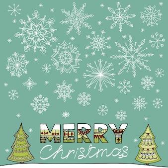 雪片とあなたのテキストの場所が落ちる冬のベクトルイラスト。クリスマスバンヌ