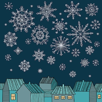 Winter vector illustration with houses, falling snowflakes and place for your text