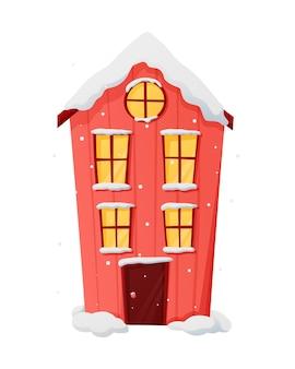 Изолированный вектор зимы рождественские иллюстрации мультипликационного дома со снегом и светом в окнах.