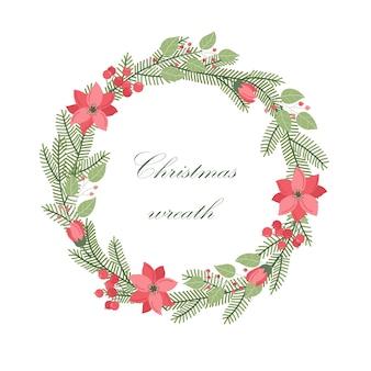 Зимний вектор круглая рамка с растениями и цветами. цветочный венок