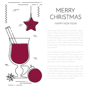 Winter vertical mulled wine banner. flat line art style.