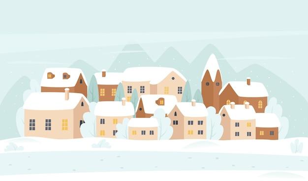 Winter village at christmas time cartoon landscape illustration