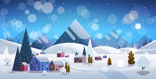 Winter village houses mountains hills landscape snowfall
