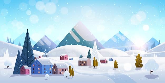 Зима деревенские дома горы холмы пейзаж снегопад