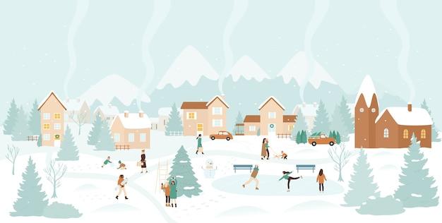 Зимняя деревня, снег рождественский пейзаж иллюстрации.