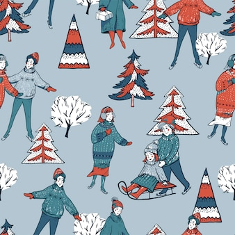 Winter vintage christmas tree, people sledding, ice skating on a rink seamless pattern