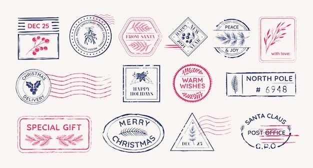 冬のヴィンテージ切手、郵便消印、ベクトルクリスマスシンボル、クリスマスの花の休日の切手デザイン要素セット、サンタクロース文字グランジラベル、グラフィックはがきイラスト