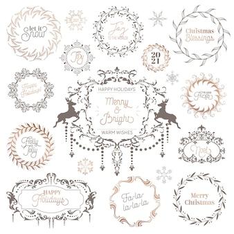 Зимний старинный венок, рождественская каллиграфическая типография, новогодние этикетки, элементы дизайна значков, праздничное украшение, завитки, рамки для приглашения, поздравления с рождественскими открытками. набор векторных иллюстраций