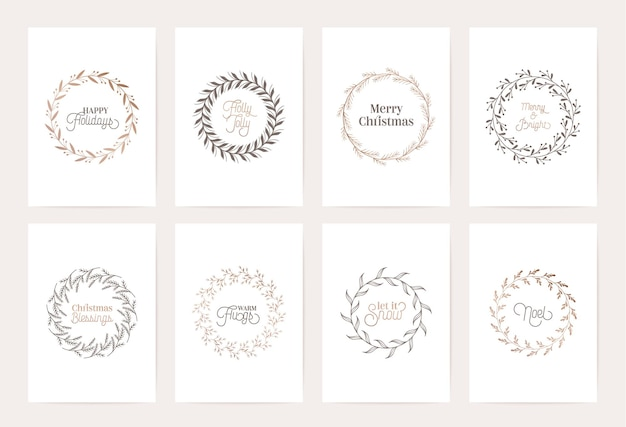 Winter vintage wreath template, christmas vector botanical calligraphic card, floral frames decoration, golden foliage illustration swirls, invitation, wedding, scrapbook, holiday xmas luxury greeting