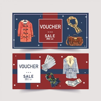 Winter voucher with watercolor hat, scarf, gloves and jacket