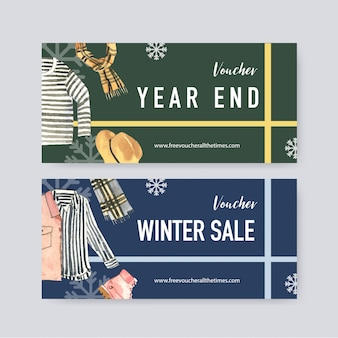 Winter voucher with watercolor long sleeve, shirt and jacket