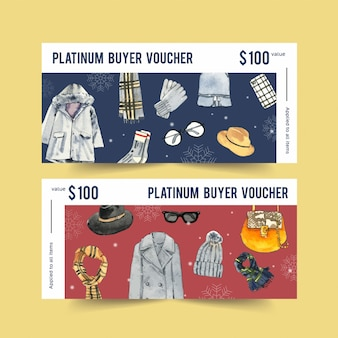 Winter voucher with watercolor sweater, bag and gloves