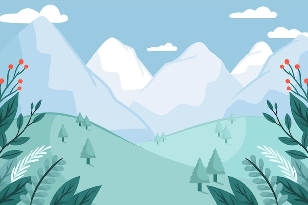 Winter wallpaper with hand drawn landscape