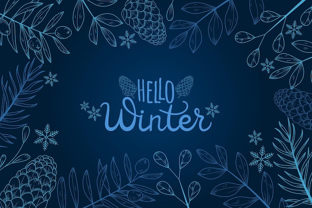 Winter wallpaper with hello winter greeting