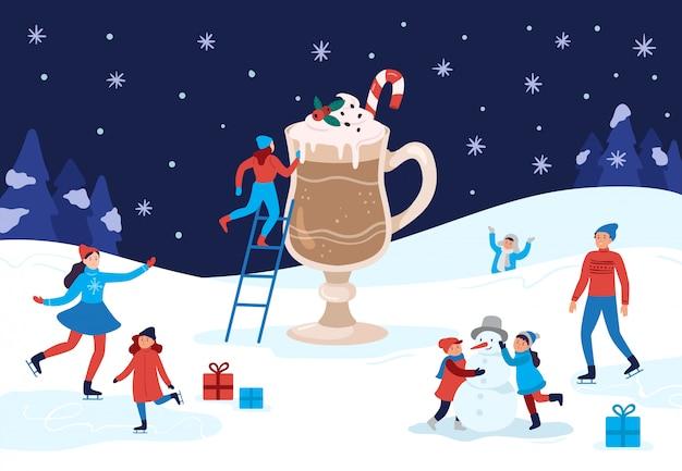 겨울 온난화 코코아 잔. 행복한 사람들이 겨울 활동, 크리스마스를 축하하고 따뜻한 음료 그림을 마셔