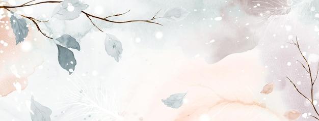 지구 톤 배경에 겨울 수채화 추상 미술입니다. 손으로 그린 수채색으로 떨어지는 눈 위에 계절의 잎과 소나무 가지. 헤더 디자인, 배너, 표지, 웹 또는 카드에 적합합니다.