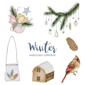 꽃다발을 특징으로하는 겨울 수채화 컬렉션