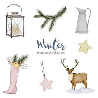 Collezione invernale di acquerelli con brocche, lanterne, cervi e scarpe.