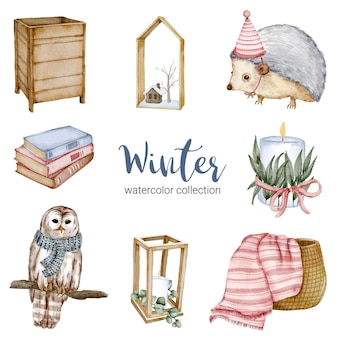 Winter watercolor collection with books, hedgehogs, owls, baskets and candles