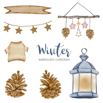 Winter watercolor collection with branches, leaves and flowers