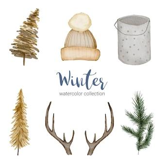 Зимняя коллекция акварелей с предметами для домашнего использования.