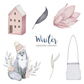 Collezione di acquerelli invernali con oggetti per uso domestico.