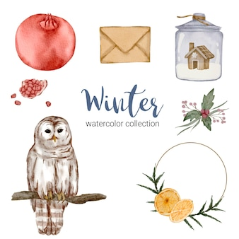 Winter watercolor collection with items for home use.