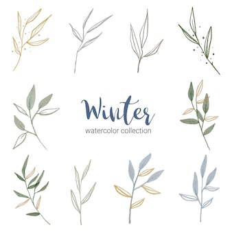 Winter watercolor collection with various types of leaves