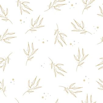 다양한 종류의 잎이있는 겨울 수채화 모음