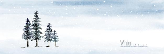 冬の水彩画の手描き。針葉樹と降雪の空と風景の背景。